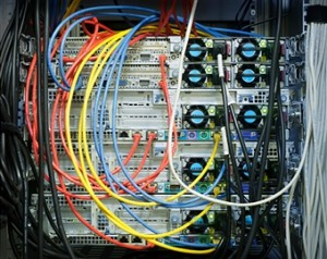 close up of wires on web server